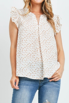 Riah Fashion Notch-Neck-Ruffl-Cap-Sleeve-Floral-Top - Product List Image