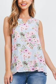 Riah Fashion Notch-Neck-Sleeveless-Floral-Top - Front cropped