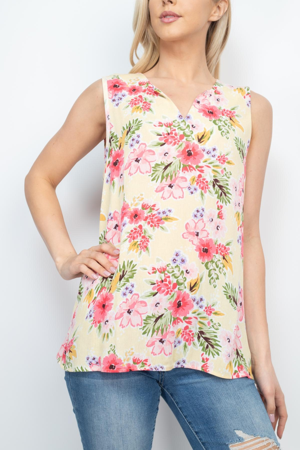 Riah Fashion Notch-Neck-Sleeveless-Floral-Top - Front Full Image