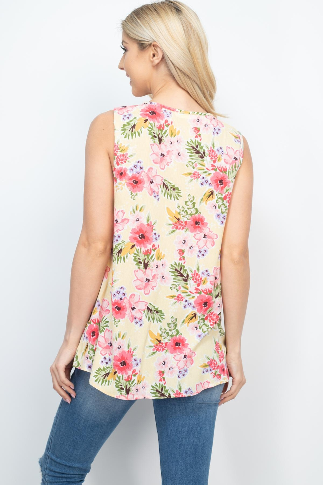 Riah Fashion Notch-Neck-Sleeveless-Floral-Top - Back Cropped Image