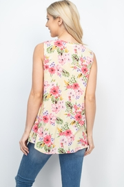 Riah Fashion Notch-Neck-Sleeveless-Floral-Top - Back cropped