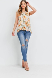 Riah Fashion Notch-Neck-Sleeveless-Floral-Top - Other