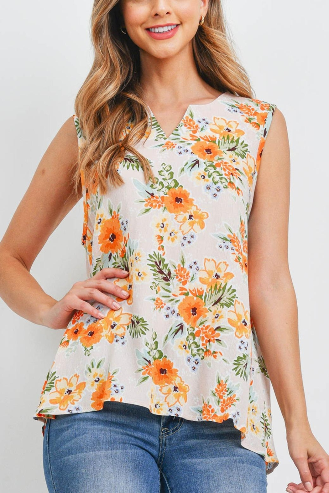 Riah Fashion Notch-Neck-Sleeveless-Floral-Top - Front Cropped Image