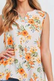 Riah Fashion Notch-Neck-Sleeveless-Floral-Top - Front full body