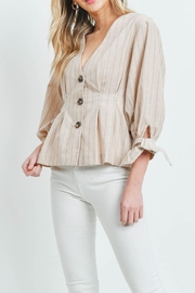 Riah Fashion Nude Stripes Top - Front cropped