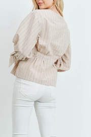 Riah Fashion Nude Stripes Top - Front full body