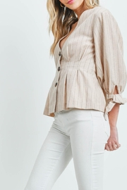 Riah Fashion Nude Stripes Top - Side cropped