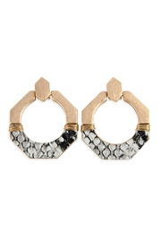 Riah Fashion Octagon-Half-Metal-And Half-Snake-Skin Leather-Post-Earrings - Product Mini Image