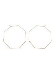 Riah Fashion Octagon-Shape Brass Earrings - Front cropped