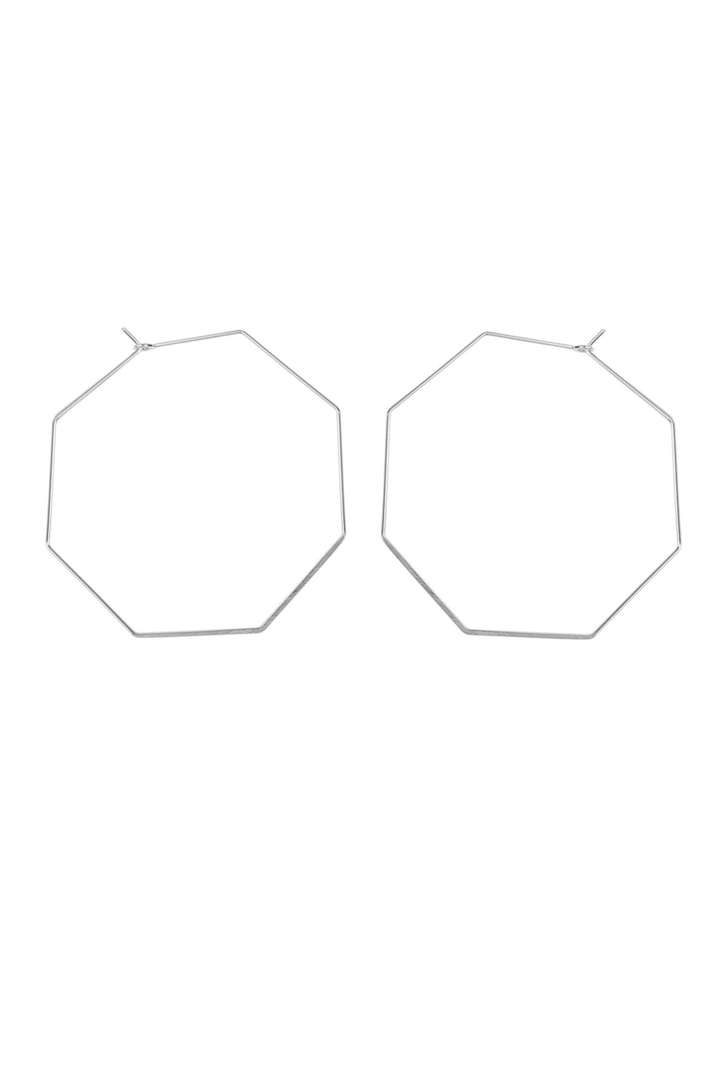 Riah Fashion Octagon-Shape Brass Earrings - Front Cropped Image