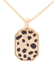 Riah Fashion Octagon-Shaped-Sanding-Metal-With-Animal-Print-Short-Necklace - Product Mini Image