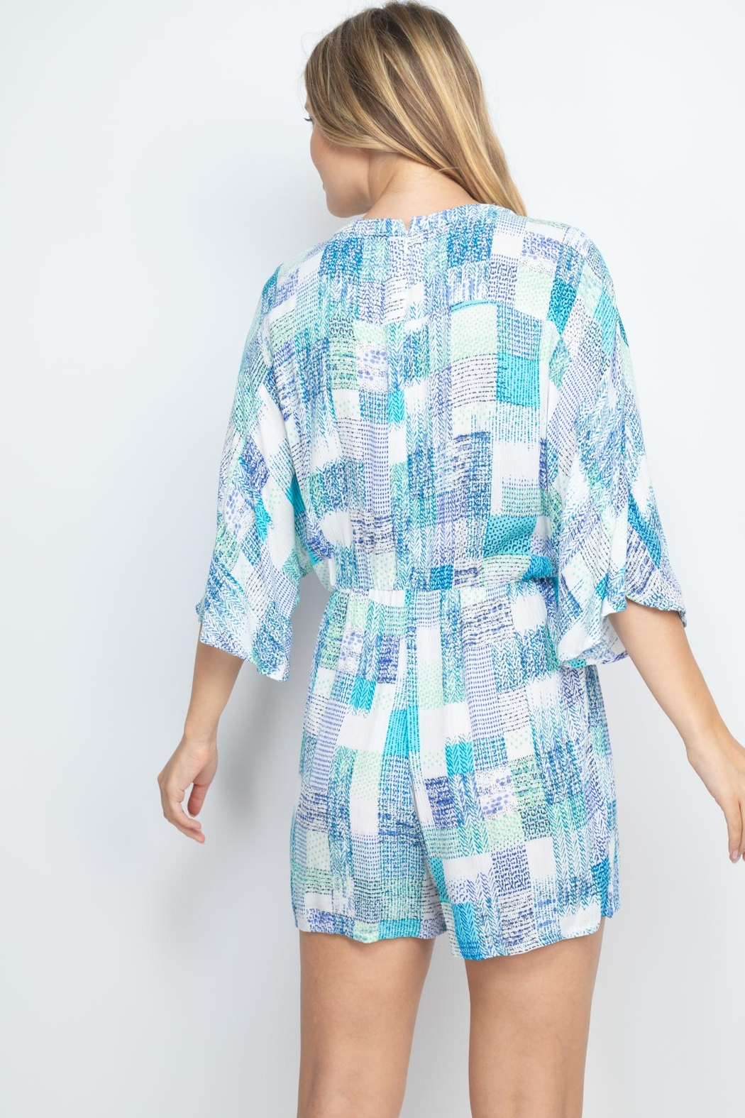Riah Fashion Off-White-Blue Romper - Front Full Image