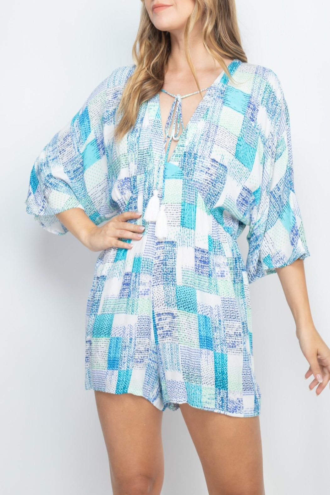 Riah Fashion Off-White-Blue Romper - Back Cropped Image