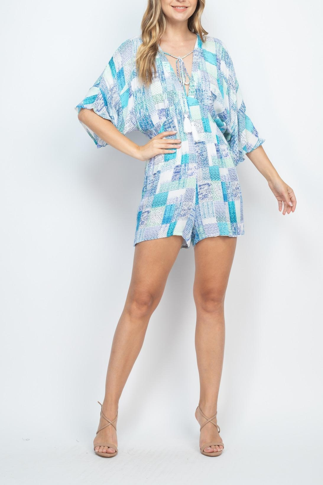Riah Fashion Off-White-Blue Romper - Side Cropped Image