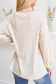 Riah Fashion Olid Waffle Puff-Sleeved-Sweater - Front full body