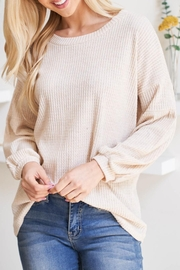 Riah Fashion Olid Waffle Puff-Sleeved-Sweater - Side cropped