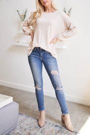 Riah Fashion Olid Waffle Puff-Sleeved-Sweater - Front cropped