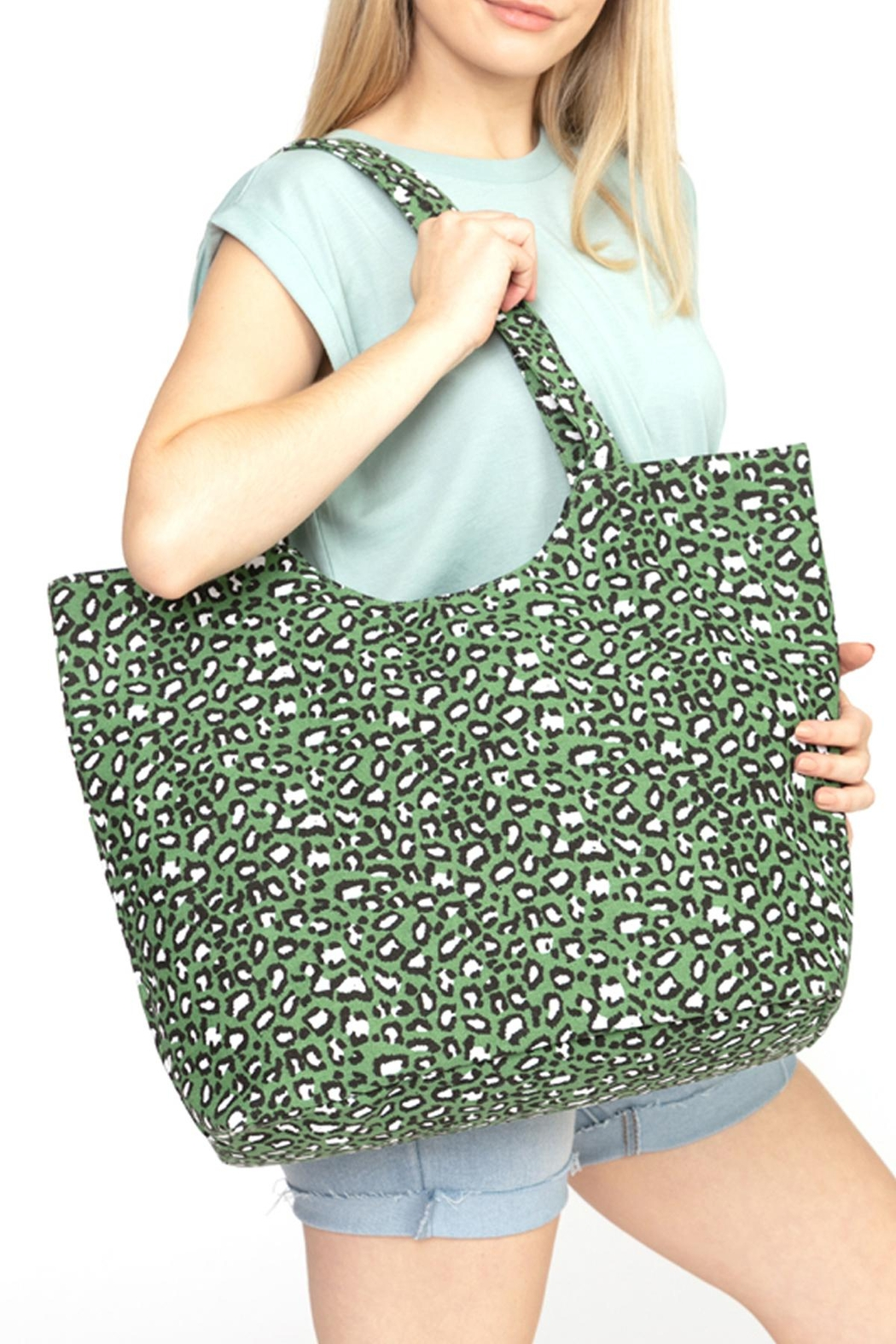 Riah Fashion Olive-Leopard-Print-Tote-Bag - Front Full Image