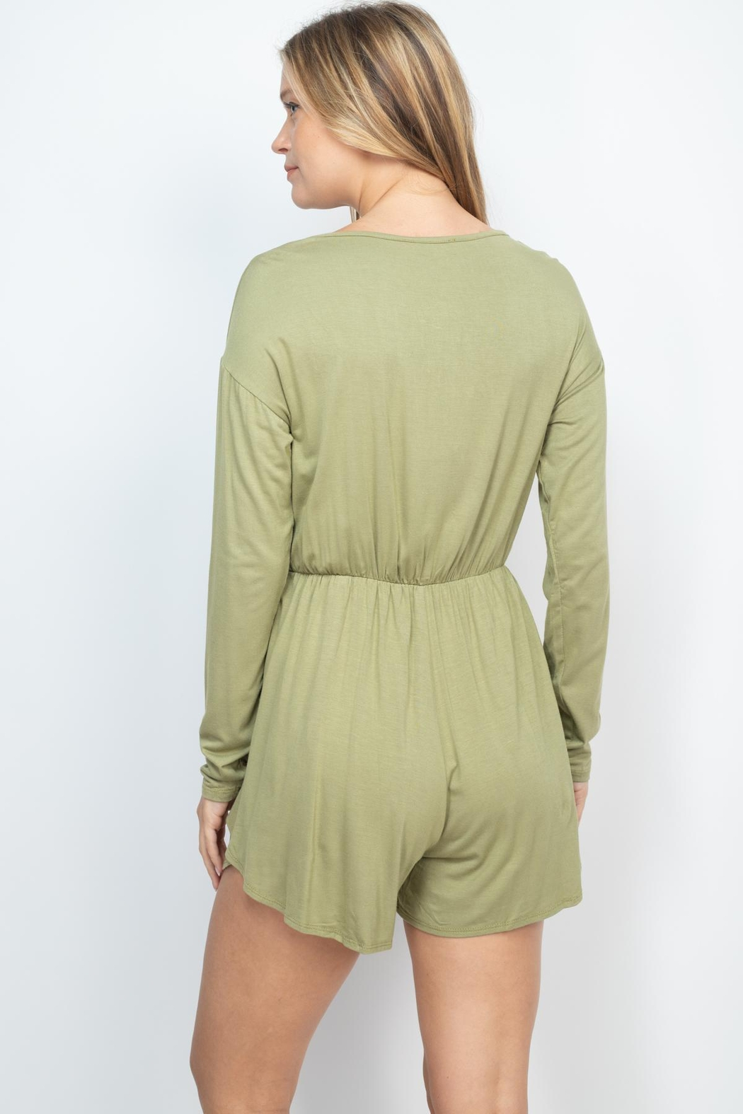 Riah Fashion Olive Romper - Front Full Image