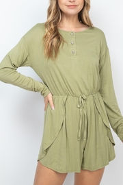 Riah Fashion Olive Romper - Front cropped