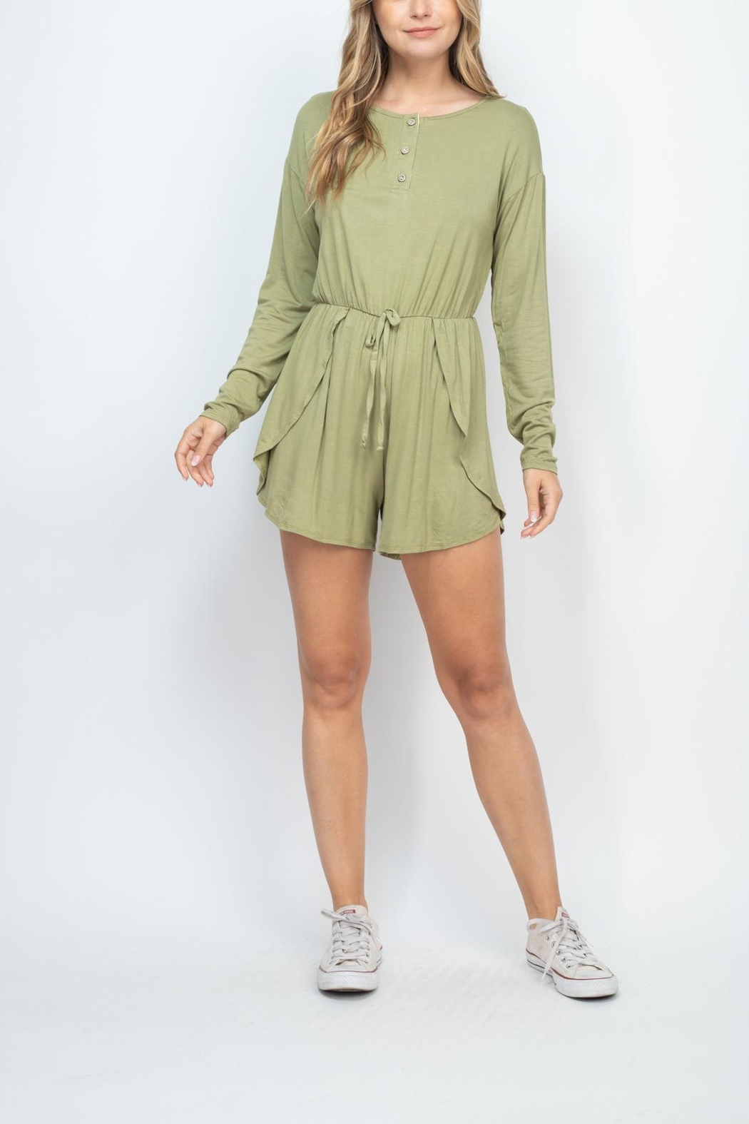 Riah Fashion Olive Romper - Side Cropped Image