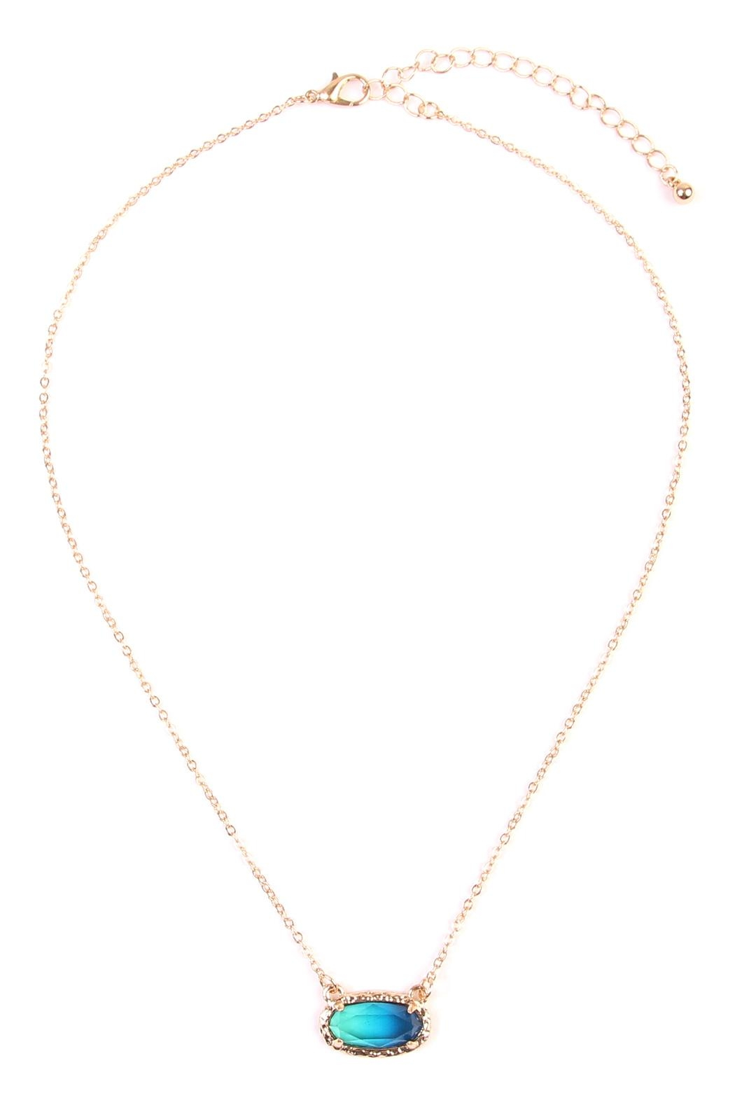 Riah Fashion Ombré Oval Pendant-Necklace - Front Cropped Image