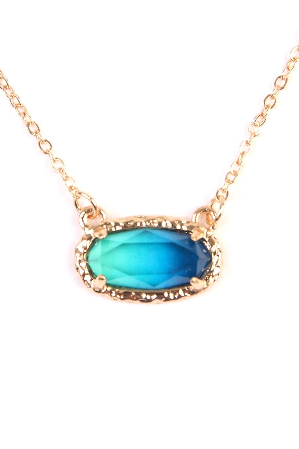 Riah Fashion Ombré Oval Pendant-Necklace - Front Full Image
