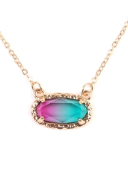 Riah Fashion Ombré Oval Pendant-Necklace - Front full body