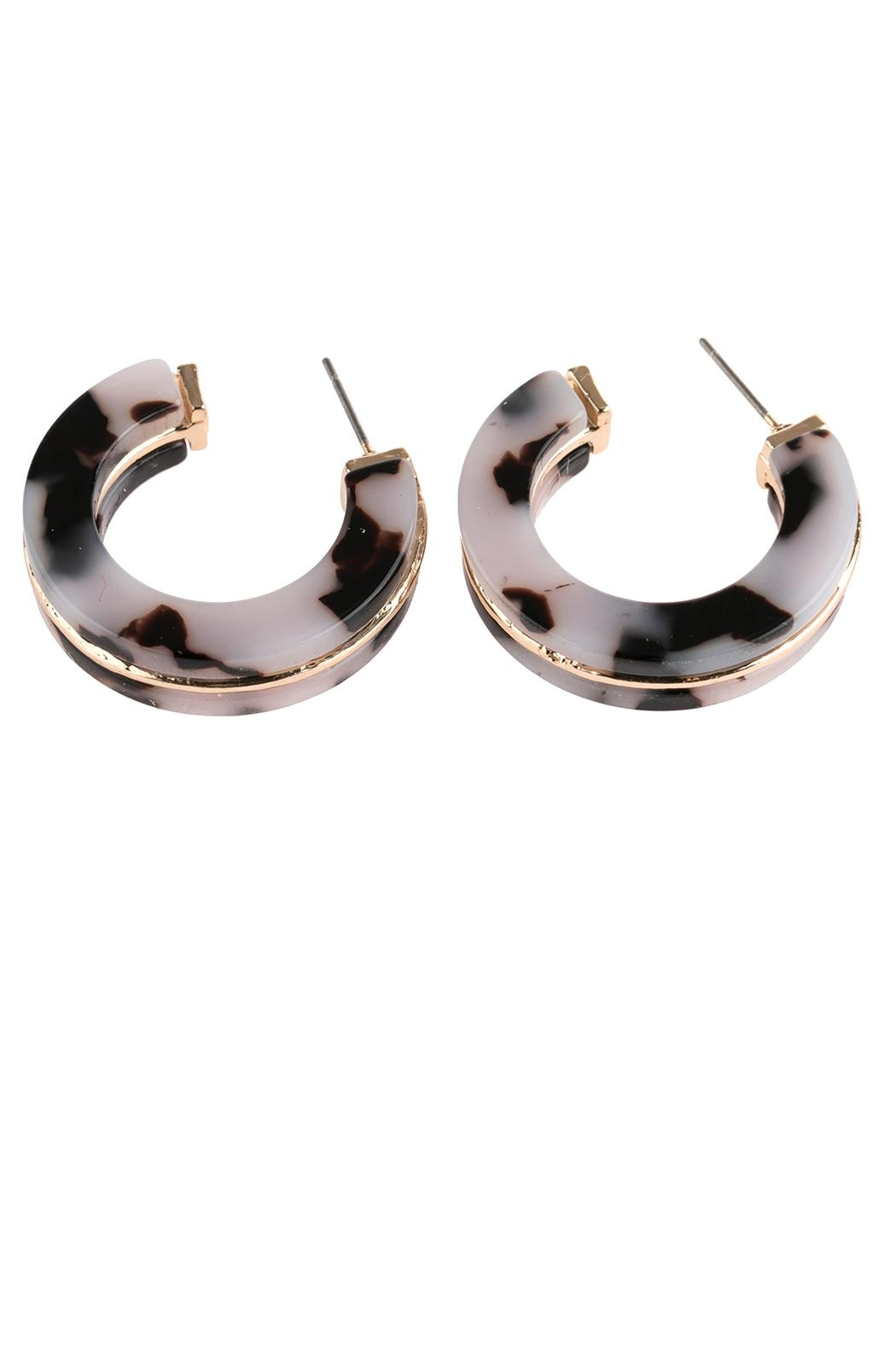 Riah Fashion Open-Circle Faceted Acetate-Earrings - Front Full Image