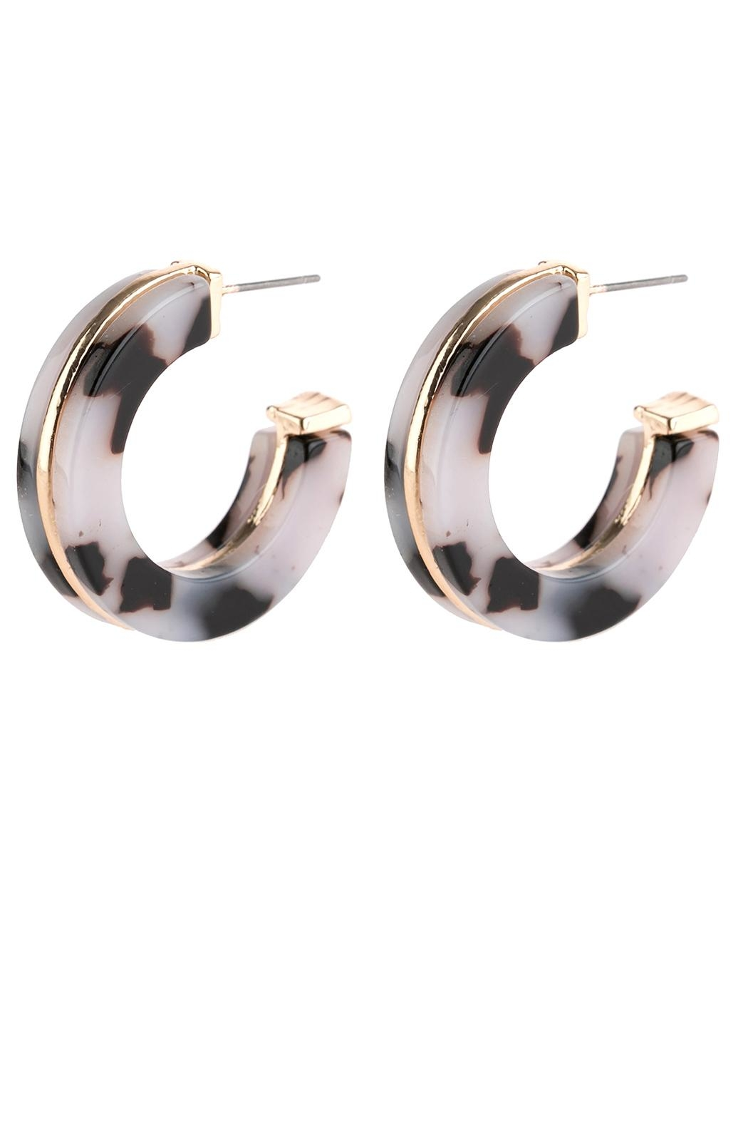 Riah Fashion Open-Circle Faceted Acetate-Earrings - Main Image