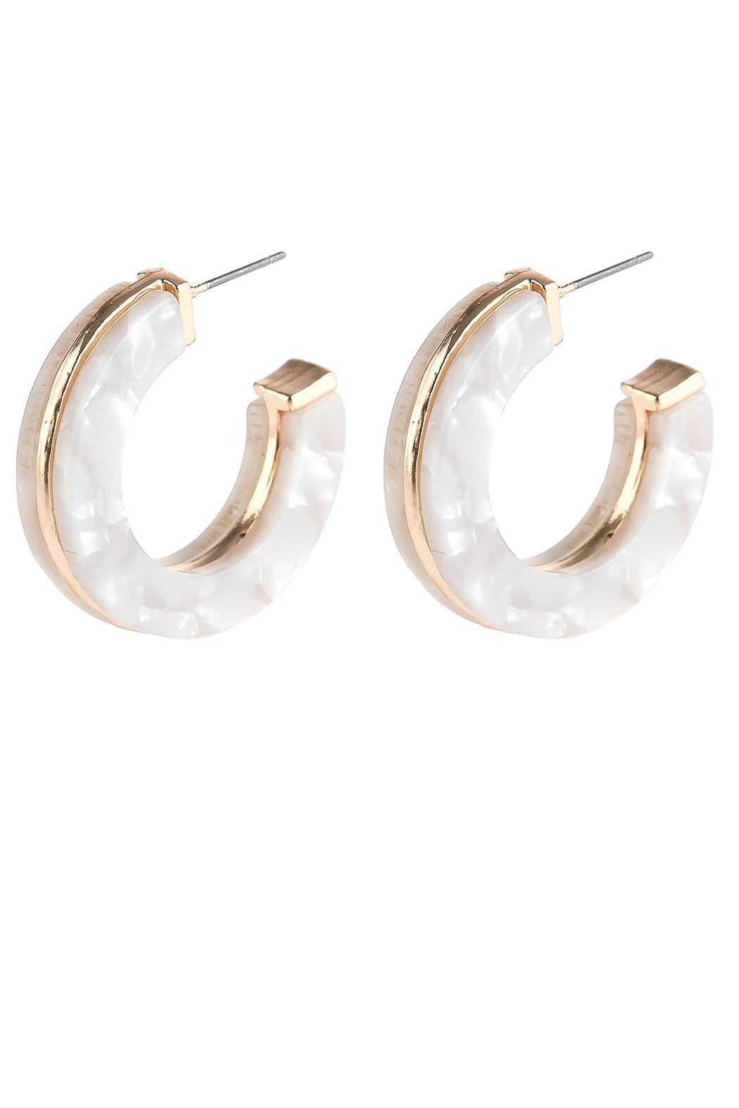 Riah Fashion Open-Circle Faceted Acetate-Earrings - Front Cropped Image