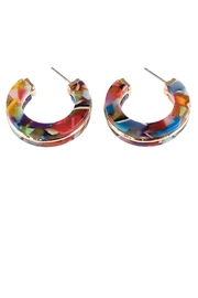 Riah Fashion Open-Circle Faceted Acetate-Earrings - Front full body