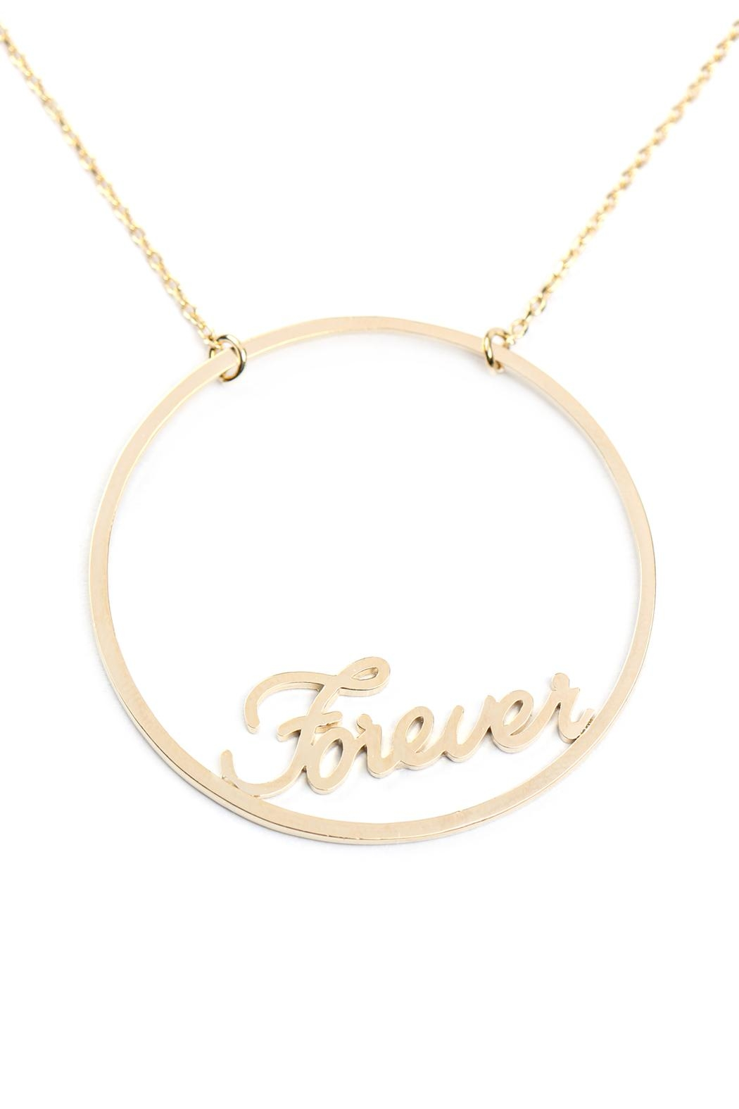 Riah Fashion Open-Circle Forever Message-Necklace - Front Full Image