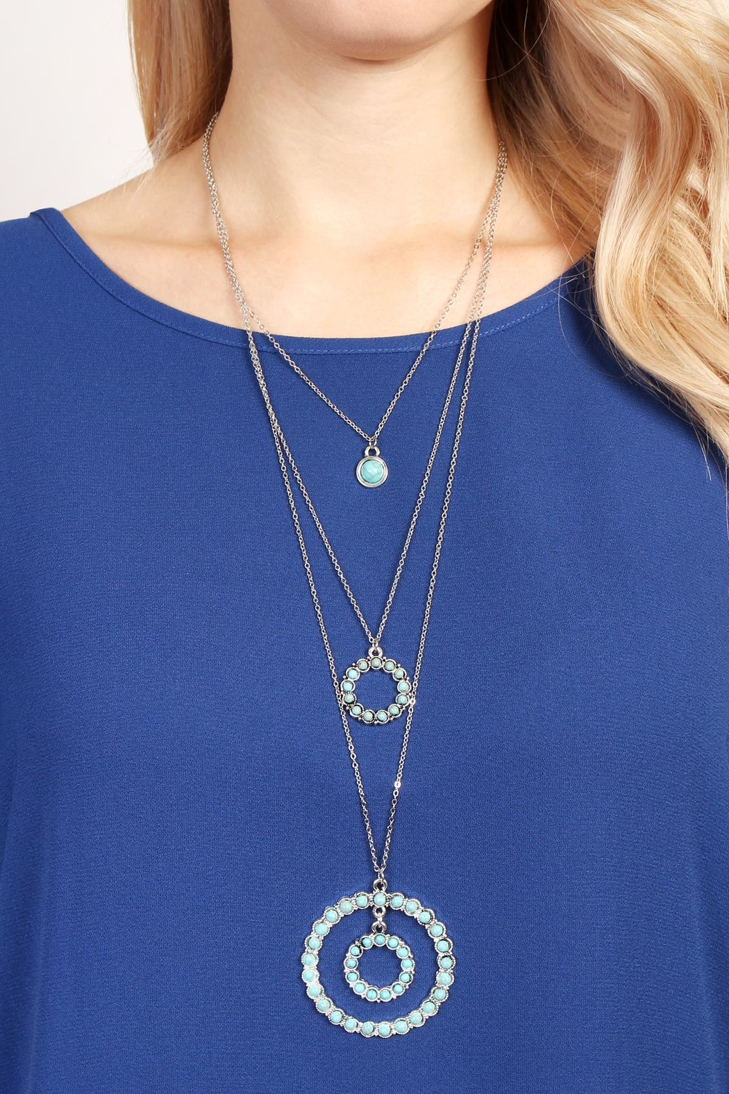 Riah Fashion Circle Layer Turquoise Necklace - Side Cropped Image