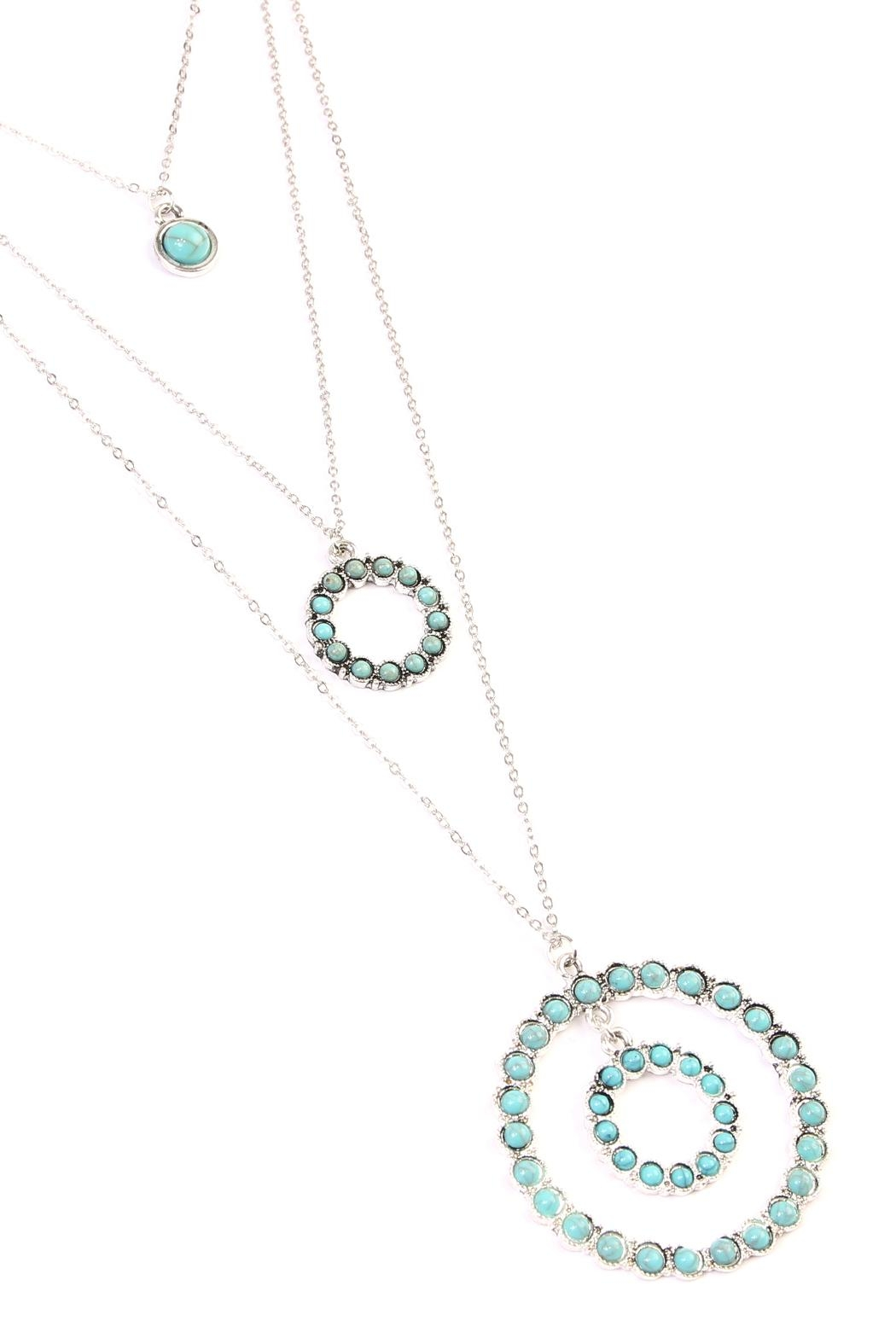 Riah Fashion Circle Layer Turquoise Necklace - Front Full Image
