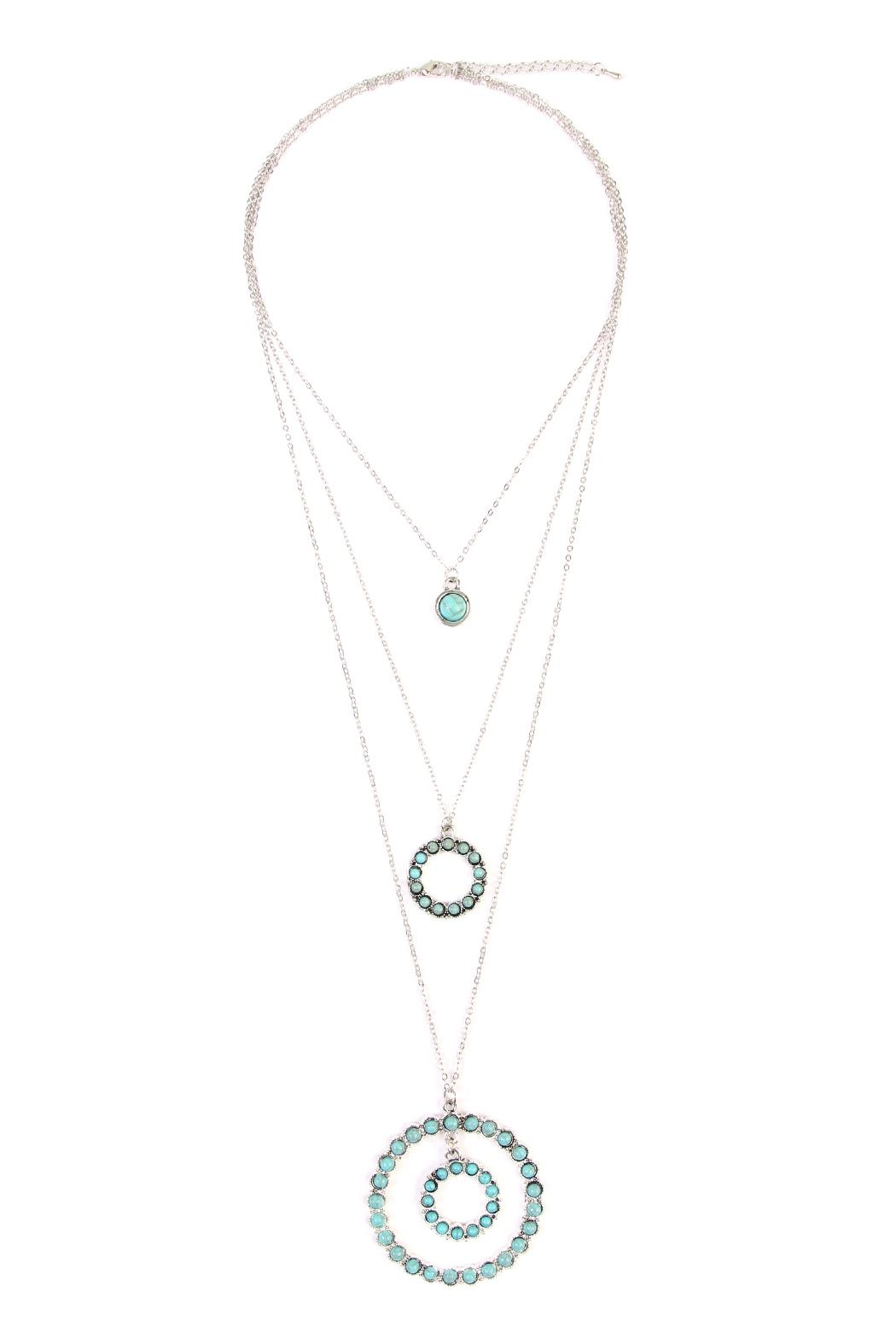 Riah Fashion Circle Layer Turquoise Necklace - Front Cropped Image