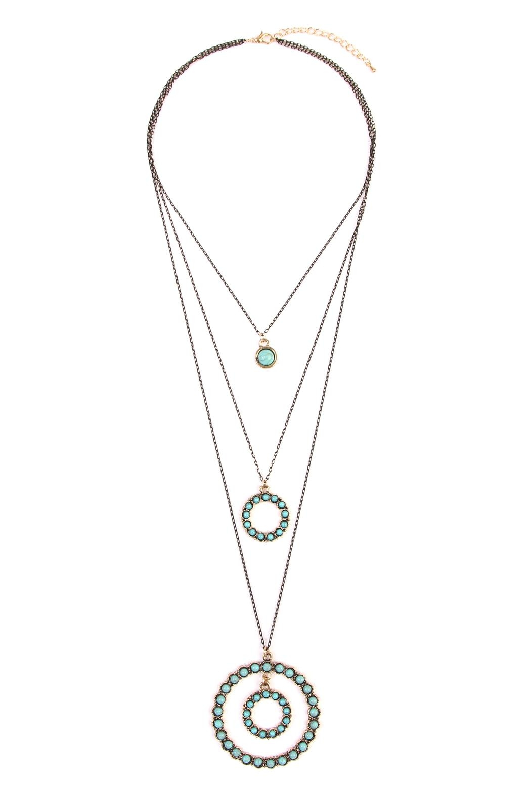 Riah Fashion Circle Layer Turquoise Necklace - Main Image