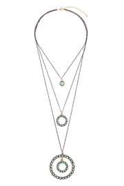 Riah Fashion Circle Layer Turquoise Necklace - Front cropped