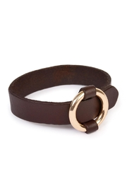 Riah Fashion Open Circle Leather Bracelet - Front cropped
