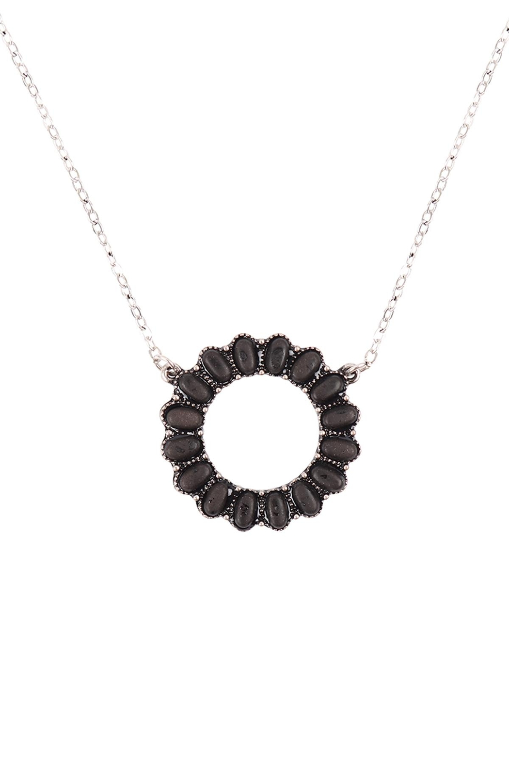 Riah Fashion Open-Circle-Natural-Ova- Ston- Pave-Pendant-Necklace-And-Earring-Set - Main Image