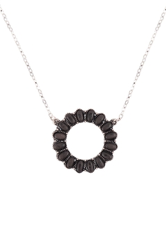 Riah Fashion Open-Circle-Natural-Ova- Ston- Pave-Pendant-Necklace-And-Earring-Set - Alternate List Image