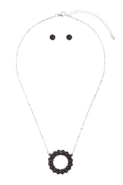 Riah Fashion Open-Circle-Natural-Ova- Ston- Pave-Pendant-Necklace-And-Earring-Set - Other