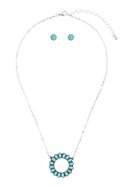 Riah Fashion Open-Circle-Natural-Ova- Ston- Pave-Pendant-Necklace-And-Earring-Set - Front full body