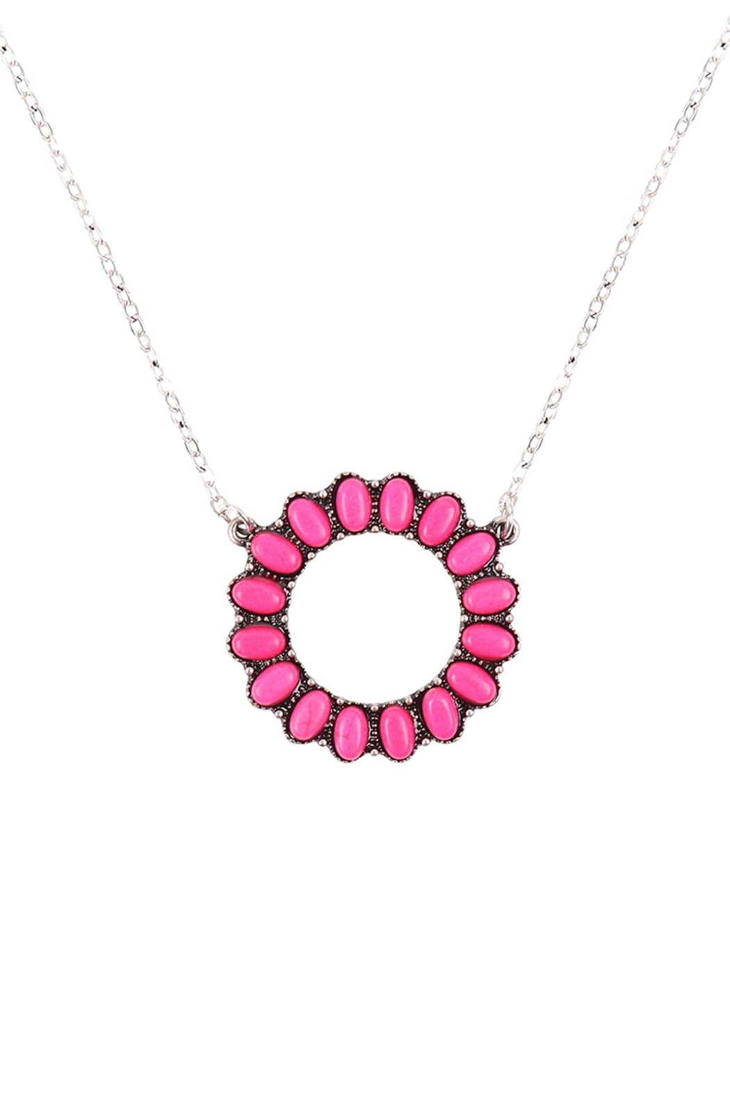 Riah Fashion Open-Circle-Natural-Ova- Ston- Pave-Pendant-Necklace-And-Earring-Set - Front Cropped Image