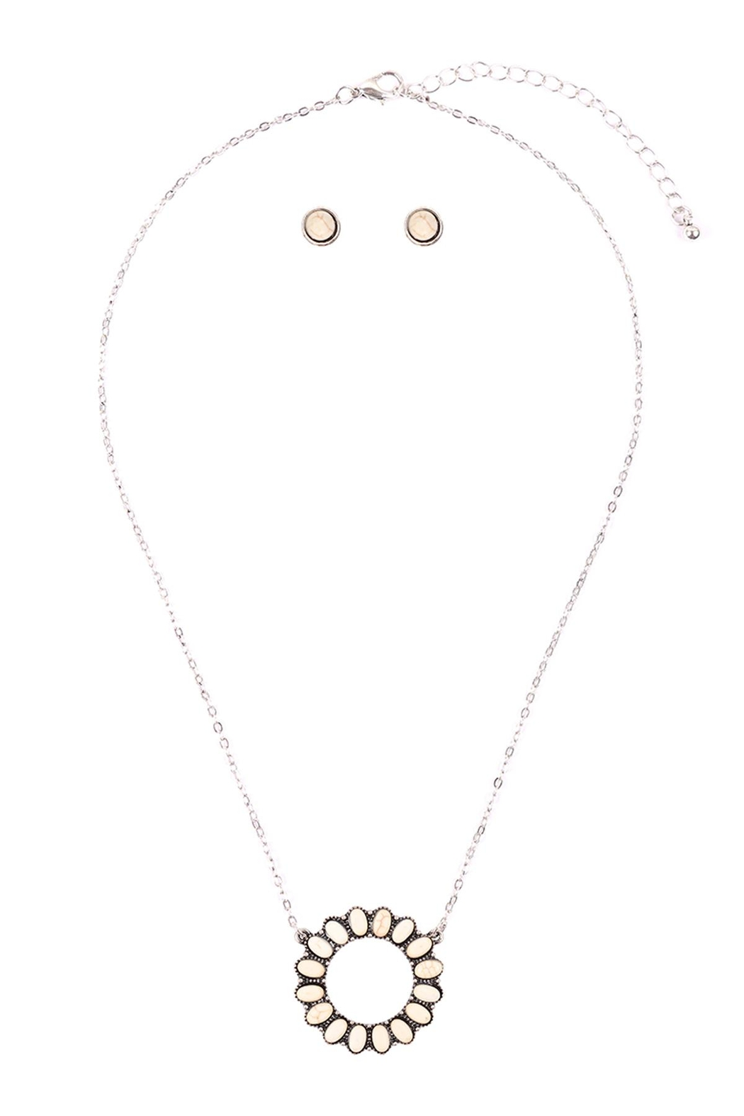 Riah Fashion Open-Circle-Natural-Ova- Ston- Pave-Pendant-Necklace-And-Earring-Set - Front Full Image