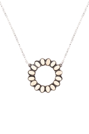 Riah Fashion Open-Circle-Natural-Ova- Ston- Pave-Pendant-Necklace-And-Earring-Set - Front cropped