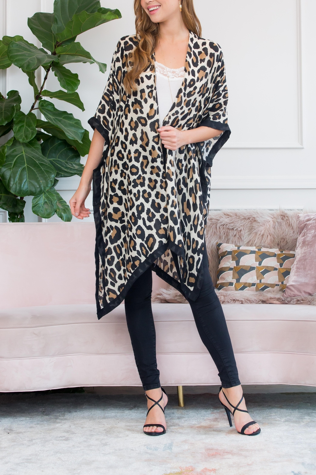 Riah Fashion Open Front Cardigan - Front Full Image