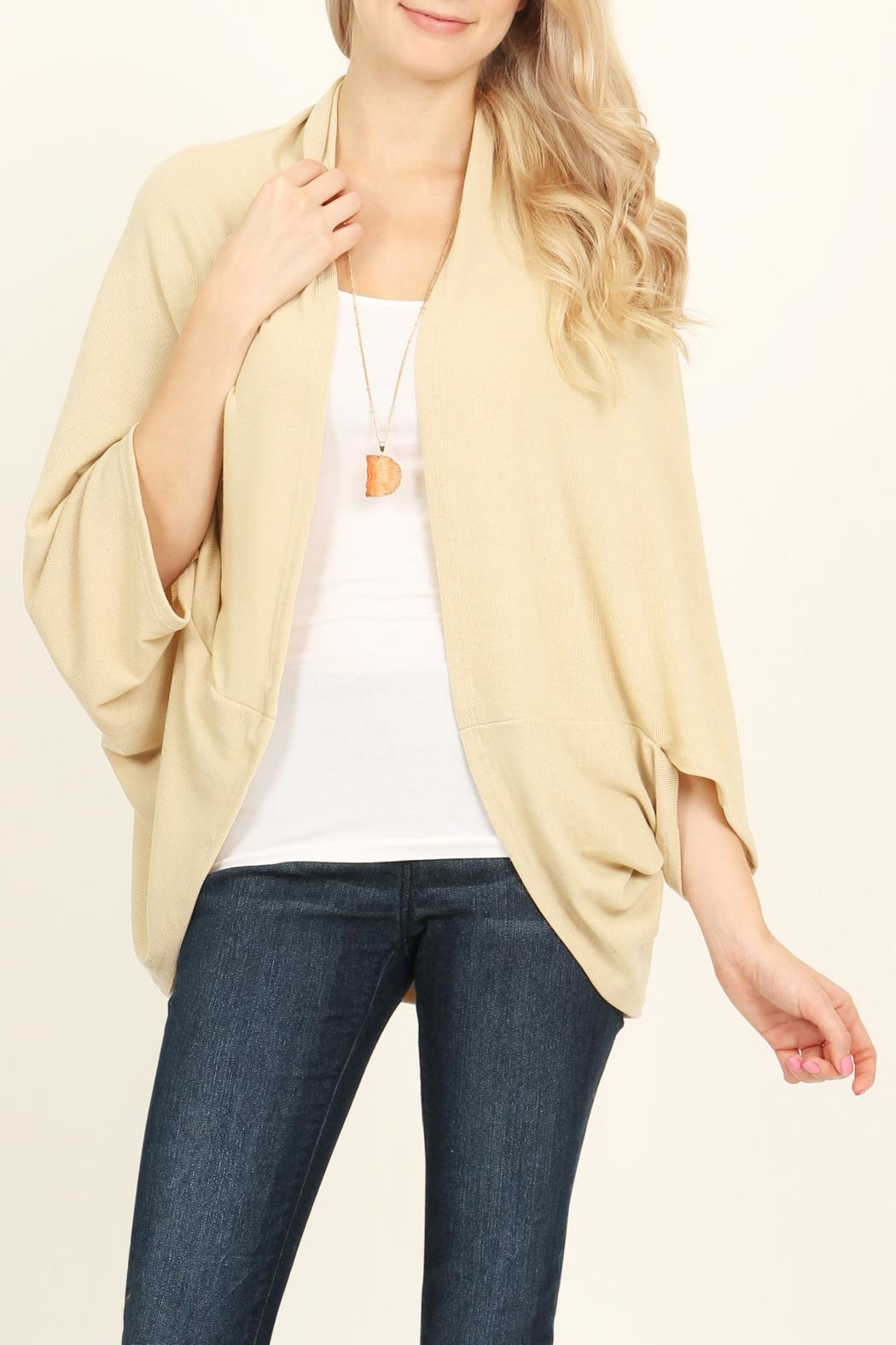 Riah Fashion Open Front Dolman Cardigan - Main Image