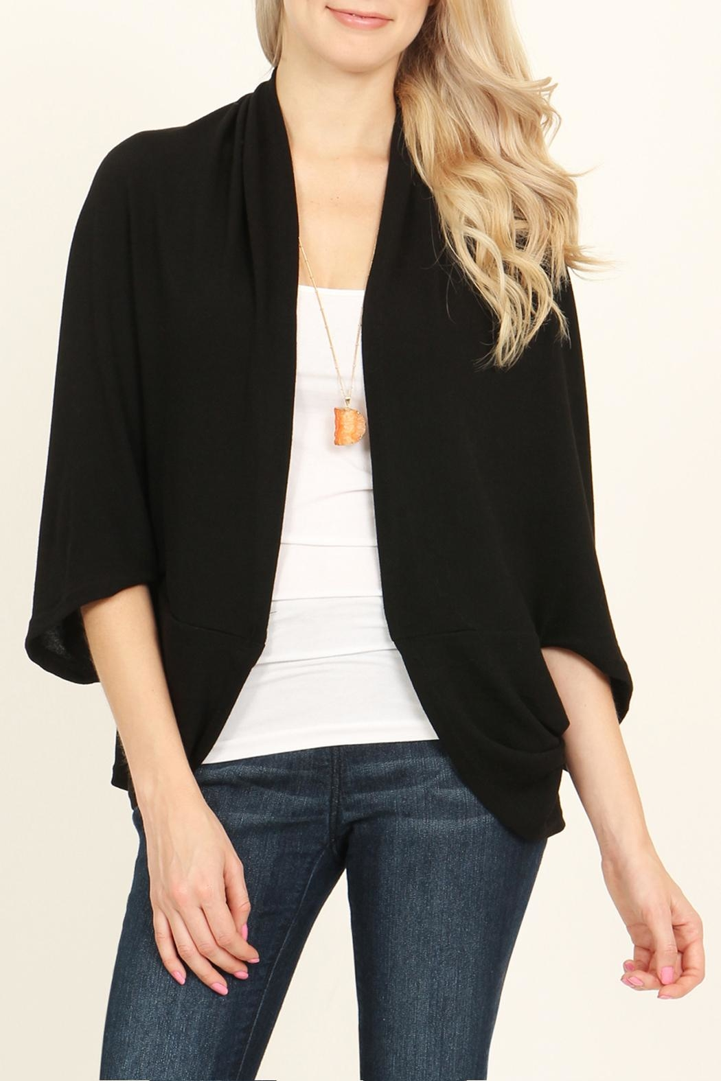 Riah Fashion Open Front Dolman Cardigan - Front Cropped Image