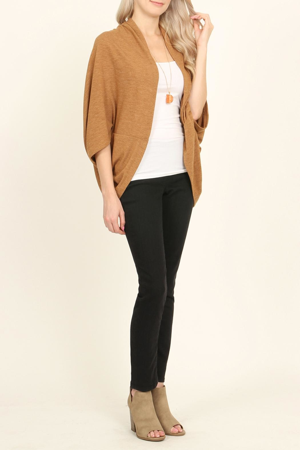 Riah Fashion Open Front Dolman Cardigan - Back Cropped Image